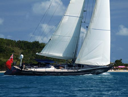 Luxury sailing superyacht Dark Star sailing superyacht sailing in North Sound, BVI